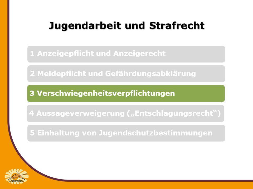 Jugendarbeit und Strafrecht 3.1 Berufsrechtliche Normierungen, z.B.