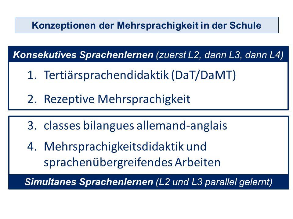 1.Tertiärsprachendidaktik (DaT/DaMT) 2.Rezeptive Mehrsprachigkeit 3.classes bilangues Konzeptionen der Mehrsprachigkeit in der Schule