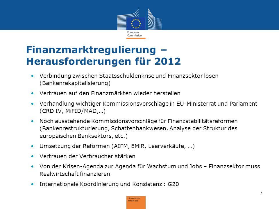 2 Finanzmarktregulierung – Herausforderungen für 2012 Verbindung zwischen Staatsschuldenkrise und Finanzsektor lösen (Bankenrekapitalisierung) Vertrau
