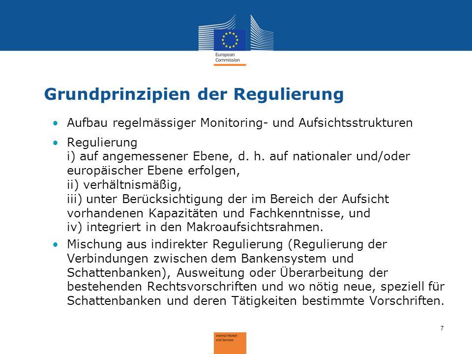 8 Bestehende Regulierung Indirekte Regulierung von Schattenbanktätigkeiten durch das Banken- und Versicherungsrecht (zB Verbriefungen, Rechnungslegungsstandards zur Konsolidierung, Solvabilität II Ausweitung des Geltungsbereichs der bestehenden Aufsichtsvorschriften auf Schattenbanktätigkeiten (zB Mifid II- Vorschläge – Eweiterung des Geltungsbereichs der Regulierung von Wertpapierfirmen), Direkte Regulierung bestimmter Schattenbanktätigkeiten (zB Richtlinie über die Verwalter alternativer Investmentfonds (AIFMD); Richtlinie über Organismen für gemeinsame Anlagen (OGAW) sowie ESMA Leitlinien; Solvabilität II)