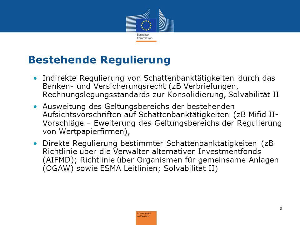 8 Bestehende Regulierung Indirekte Regulierung von Schattenbanktätigkeiten durch das Banken- und Versicherungsrecht (zB Verbriefungen, Rechnungslegung