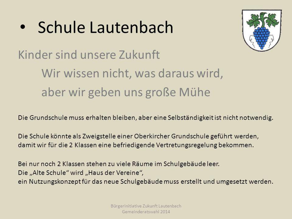 Schule Lautenbach Kinder sind unsere Zukunft Wir wissen nicht, was daraus wird, aber wir geben uns große Mühe Die Grundschule muss erhalten bleiben, aber eine Selbständigkeit ist nicht notwendig.