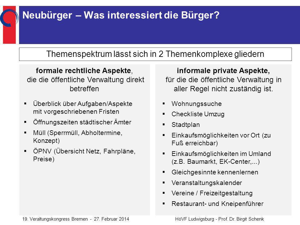 19.Veraltungskongress Bremen - 27. Februar 2014HöVF Ludwigsburg - Prof.