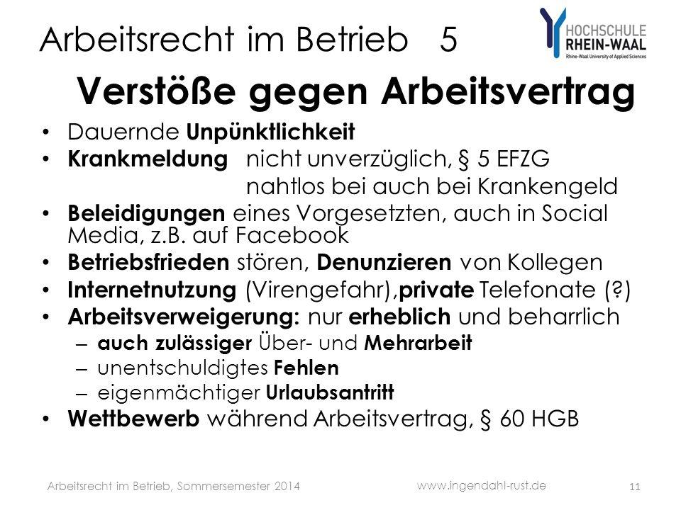Arbeitsrecht im Betrieb 5 Verstöße gegen Arbeitsvertrag Dauernde Unpünktlichkeit Krankmeldung nicht unverzüglich, § 5 EFZG nahtlos bei auch bei Kranke