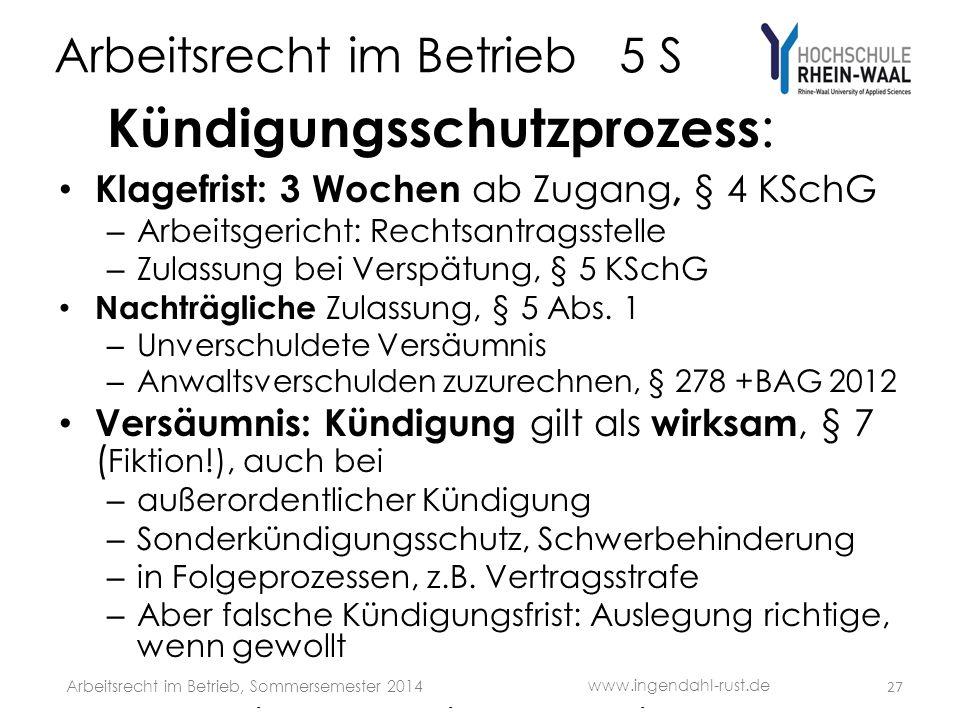Arbeitsrecht im Betrieb 5 S Kündigungsschutzprozess : Klagefrist: 3 Wochen ab Zugang, § 4 KSchG – Arbeitsgericht: Rechtsantragsstelle – Zulassung bei