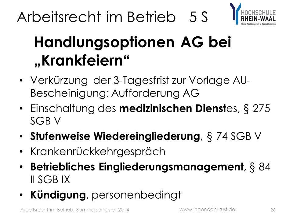 Arbeitsrecht im Betrieb 5 S Handlungsoptionen AG bei Krankfeiern Verkürzung der 3-Tagesfrist zur Vorlage AU- Bescheinigung: Aufforderung AG Einschaltu