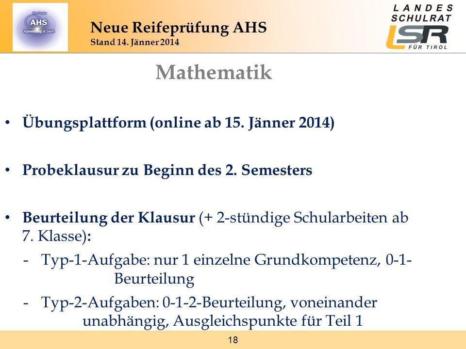 18 Neue Reifeprüfung AHS Stand 14. Jänner 2014 Mathematik Übungsplattform (online ab 15. Jänner 2014) Probeklausur zu Beginn des 2. Semesters Beurteil