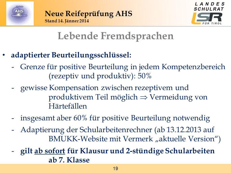 19 Neue Reifeprüfung AHS Stand 14. Jänner 2014 Lebende Fremdsprachen adaptierter Beurteilungsschlüssel: -Grenze für positive Beurteilung in jedem Komp