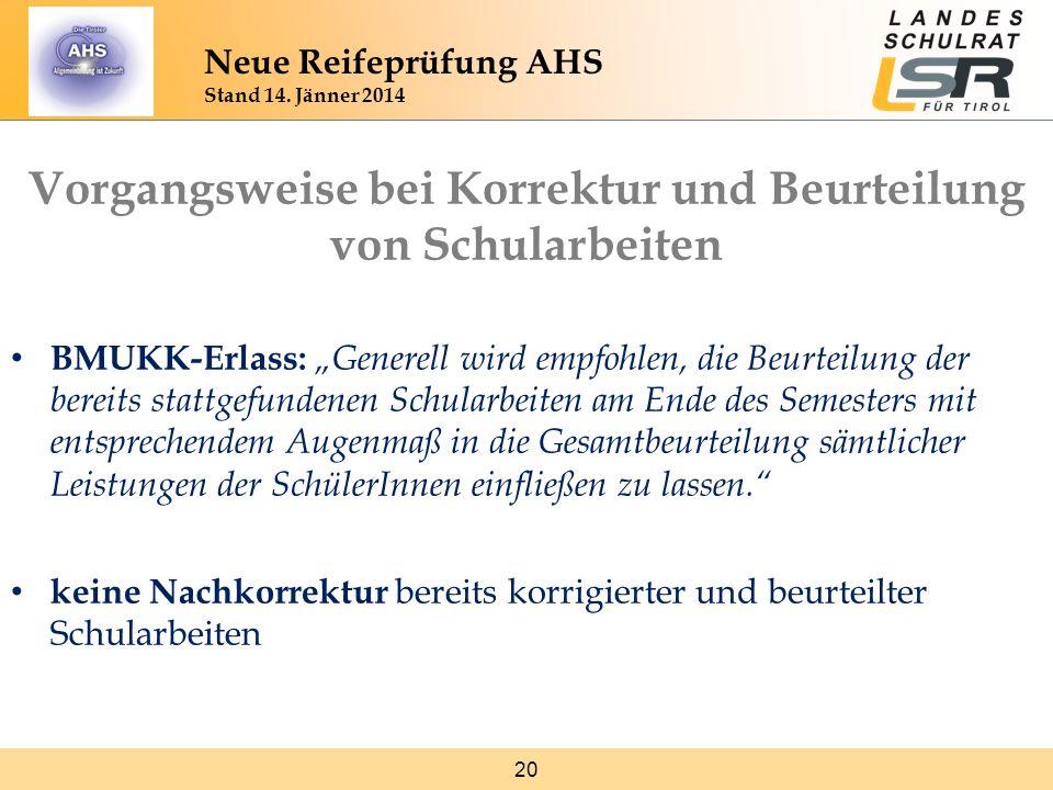 20 Neue Reifeprüfung AHS Stand 14. Jänner 2014 Vorgangsweise bei Korrektur und Beurteilung von Schularbeiten BMUKK-Erlass: Generell wird empfohlen, di