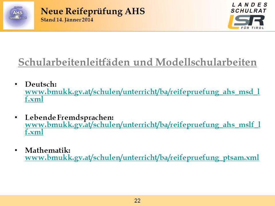 22 Schularbeitenleitfäden und Modellschularbeiten Deutsch: www.bmukk.gv.at/schulen/unterricht/ba/reifepruefung_ahs_msd_l f.xml www.bmukk.gv.at/schulen