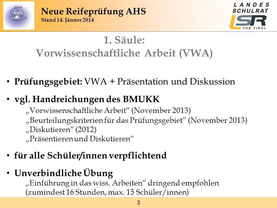 3 1. Säule: Vorwissenschaftliche Arbeit (VWA) Prüfungsgebiet: VWA + Präsentation und Diskussion vgl. Handreichungen des BMUKK Vorwissenschaftliche Arb