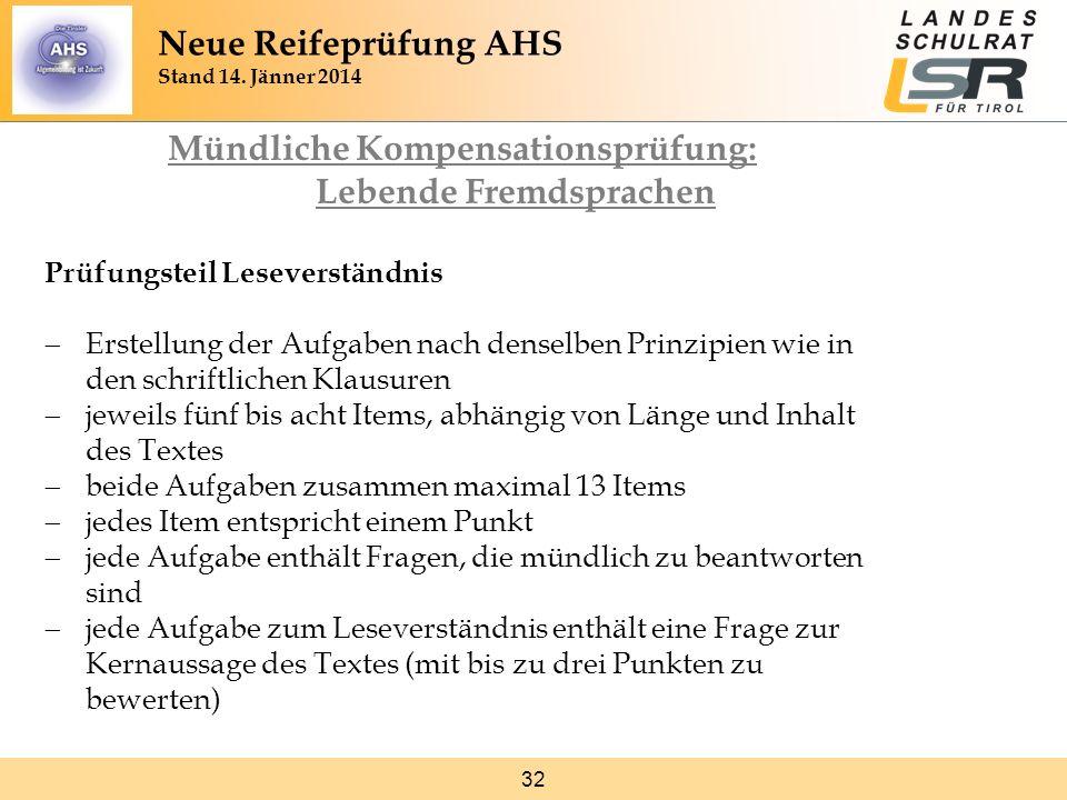 32 Mündliche Kompensationsprüfung: Lebende Fremdsprachen Prüfungsteil Leseverständnis Erstellung der Aufgaben nach denselben Prinzipien wie in den sch