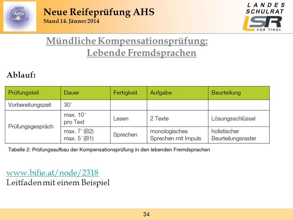 34 Mündliche Kompensationsprüfung: Lebende Fremdsprachen Ablauf: www.bifie.at/node/2318 www.bifie.at/node/2318 Leitfaden mit einem Beispiel Neue Reife