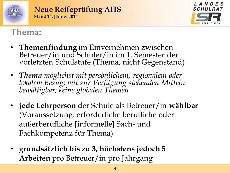 4 Thema: Themenfindung im Einvernehmen zwischen Betreuer/in und Schüler/in im 1. Semester der vorletzten Schulstufe (Thema, nicht Gegenstand) Thema mö