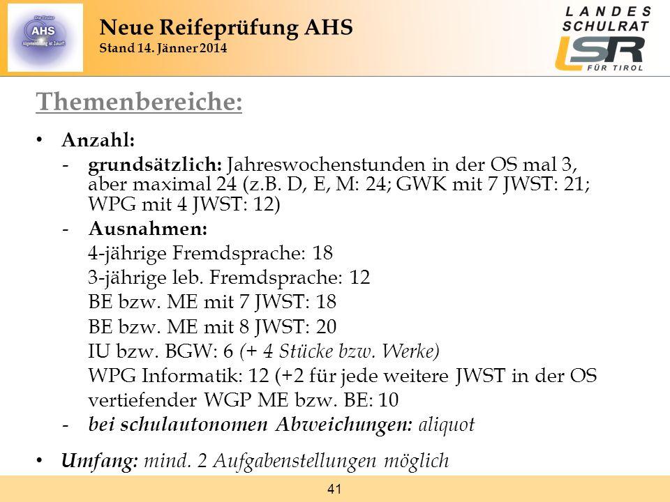 41 Themenbereiche: Anzahl: - grundsätzlich: Jahreswochenstunden in der OS mal 3, aber maximal 24 (z.B. D, E, M: 24; GWK mit 7 JWST: 21; WPG mit 4 JWST