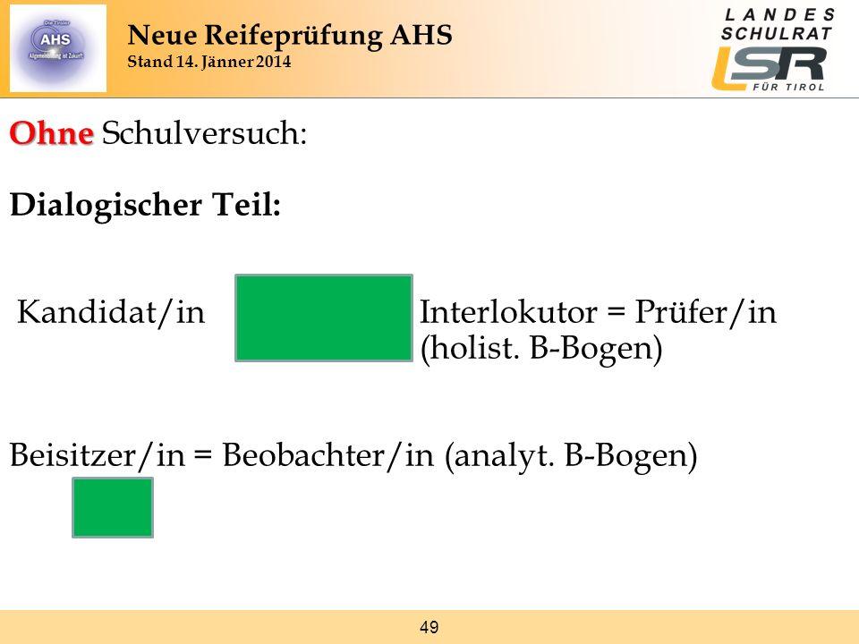 49 Ohne Ohne Schulversuch: Dialogischer Teil: Kandidat/in Interlokutor = Prüfer/in (holist. B-Bogen) Beisitzer/in = Beobachter/in (analyt. B-Bogen) Ne