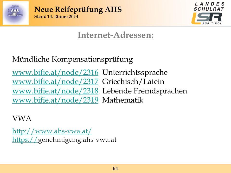 54 Internet-Adressen: Mündliche Kompensationsprüfung www.bifie.at/node/2316www.bifie.at/node/2316 Unterrichtssprache www.bifie.at/node/2317www.bifie.a