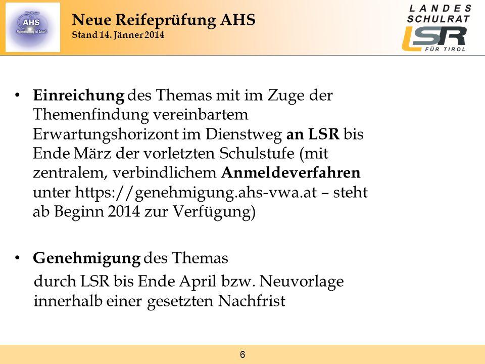 6 Einreichung des Themas mit im Zuge der Themenfindung vereinbartem Erwartungshorizont im Dienstweg an LSR bis Ende März der vorletzten Schulstufe (mi