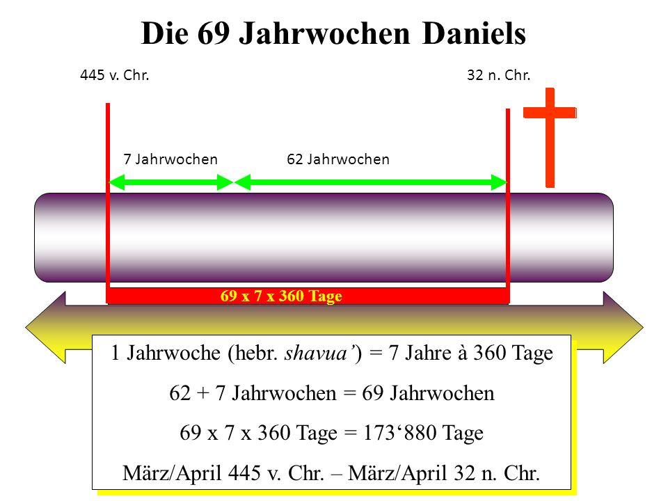 Die 69 Jahrwochen Daniels 1 Jahrwoche (hebr. shavua) = 7 Jahre à 360 Tage 62 + 7 Jahrwochen = 69 Jahrwochen 69 x 7 x 360 Tage = 173880 Tage März/April
