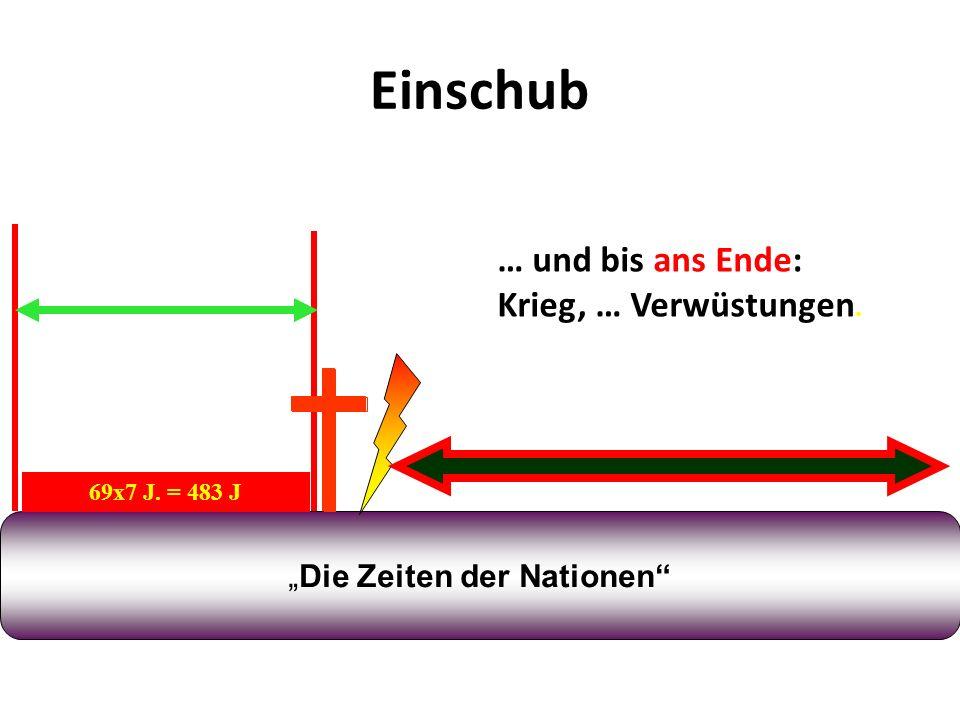 Einschub Die Zeiten der Nationen 69x7 J. = 483 J 445 v. Chr. 32 n. Chr. 7 + 62 = 69 70 n. Chr. … und bis ans Ende: Krieg, … Verwüstungen.