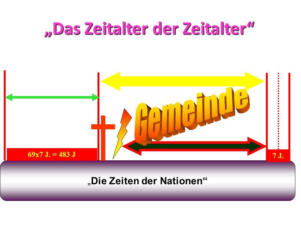 Das Zeitalter der Zeitalter Die Zeiten der Nationen 69x7 J. = 483 J 445 v. Chr. 32 n. Chr. 7 + 62 = 69 70 n. Chr. 7 J.