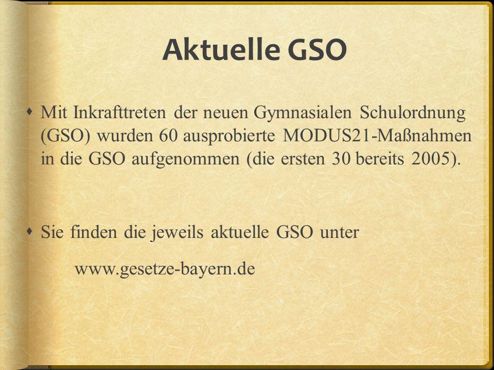 Aktuelle GSO Mit Inkrafttreten der neuen Gymnasialen Schulordnung (GSO) wurden 60 ausprobierte MODUS21-Maßnahmen in die GSO aufgenommen (die ersten 30 bereits 2005).