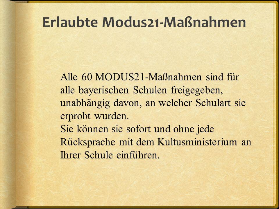 Erlaubte Modus21-Maßnahmen Alle 60 MODUS21-Maßnahmen sind für alle bayerischen Schulen freigegeben, unabhängig davon, an welcher Schulart sie erprobt wurden.