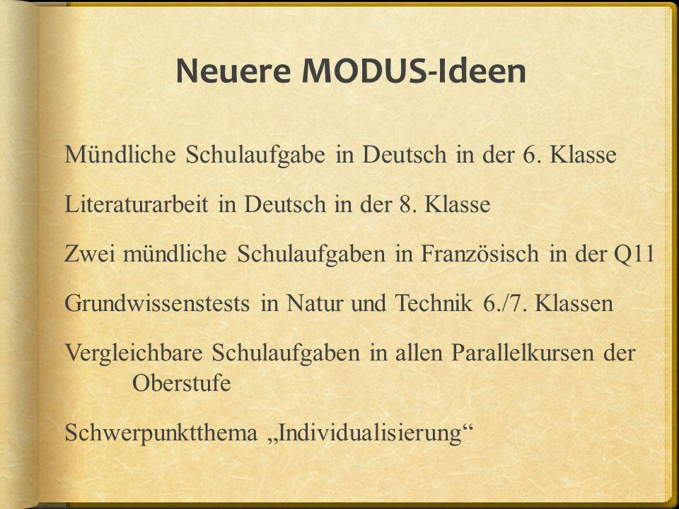 Neuere MODUS-Ideen Mündliche Schulaufgabe in Deutsch in der 6.