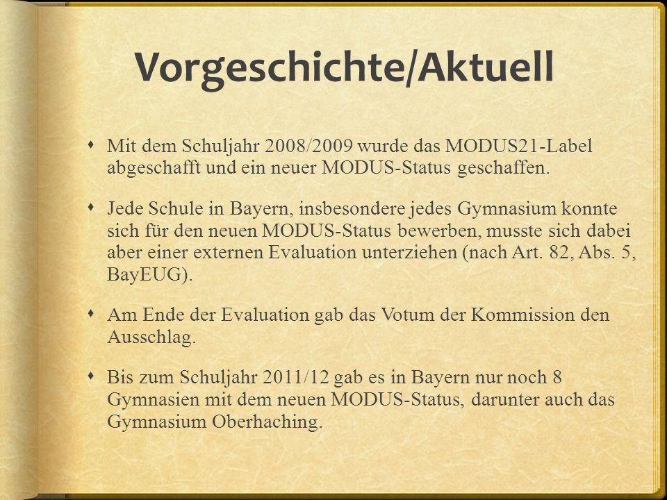 Vorgeschichte/Aktuell Mit dem Schuljahr 2008/2009 wurde das MODUS21-Label abgeschafft und ein neuer MODUS-Status geschaffen.