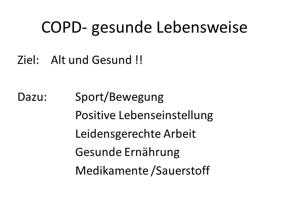 COPD- gesunde Lebensweise Ziel: Alt und Gesund !! Dazu:Sport/Bewegung Positive Lebenseinstellung Leidensgerechte Arbeit Gesunde Ernährung Medikamente