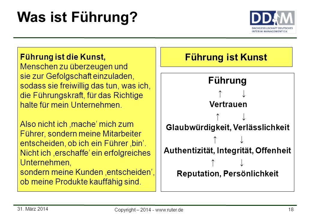 31. März 2014 18 Copyright – 2014 - www.ruter.de Was ist Führung? Führung ist die Kunst, Menschen zu überzeugen und sie zur Gefolgschaft einzuladen, s