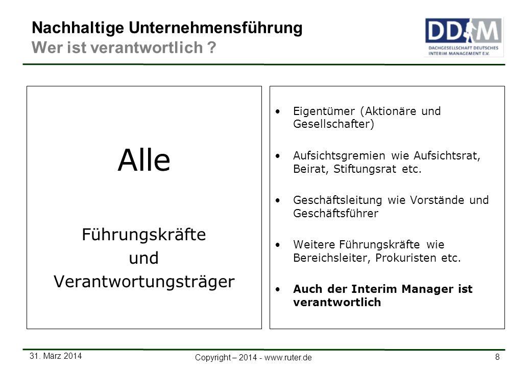 31. März 2014 8 Copyright – 2014 - www.ruter.de Nachhaltige Unternehmensführung Wer ist verantwortlich ? Alle Führungskräfte und Verantwortungsträger