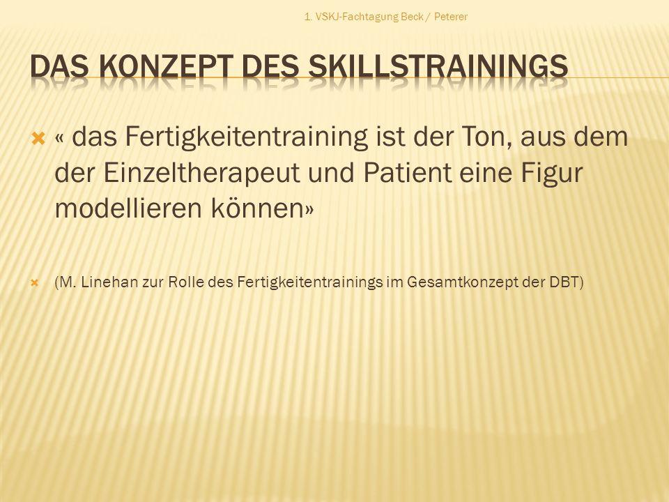 « das Fertigkeitentraining ist der Ton, aus dem der Einzeltherapeut und Patient eine Figur modellieren können» (M. Linehan zur Rolle des Fertigkeitent