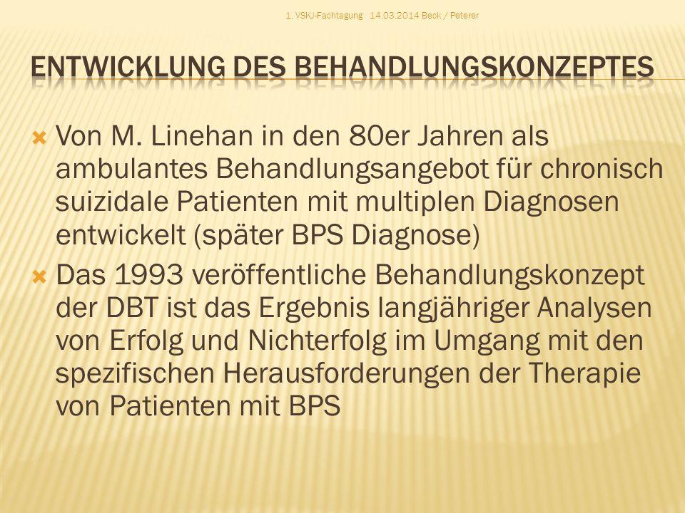 Von M. Linehan in den 80er Jahren als ambulantes Behandlungsangebot für chronisch suizidale Patienten mit multiplen Diagnosen entwickelt (später BPS D