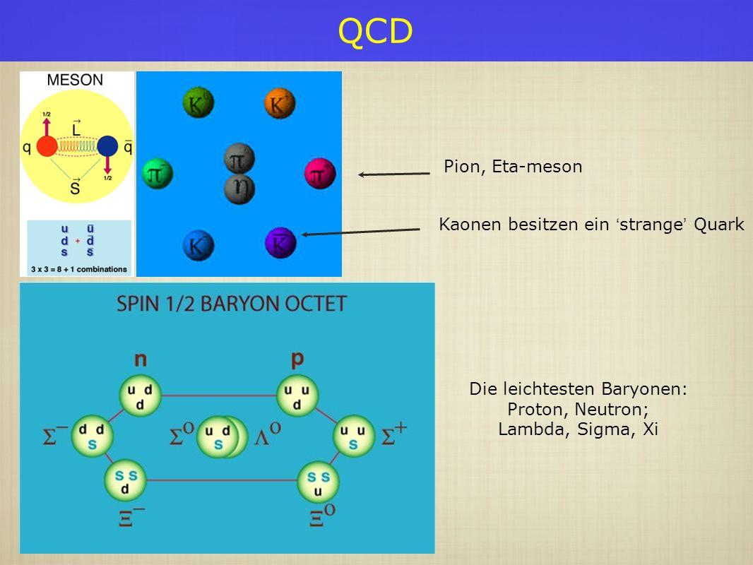 QCD Pion, Eta-meson Die leichtesten Baryonen: Proton, Neutron; Lambda, Sigma, Xi Kaonen besitzen ein strange Quark