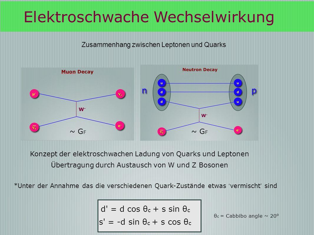 Elektroschwache Wechselwirkung Zusammenhang zwischen Leptonen und Quarks ~ G F Konzept der elektroschwachen Ladung von Quarks und Leptonen Übertragung