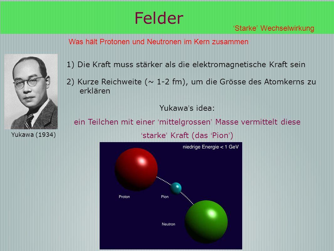 Felder Starke Wechselwirkung Was hält Protonen und Neutronen im Kern zusammen Yukawa (1934) Yukawa s idea: ein Teilchen mit einer mittelgrossen Masse