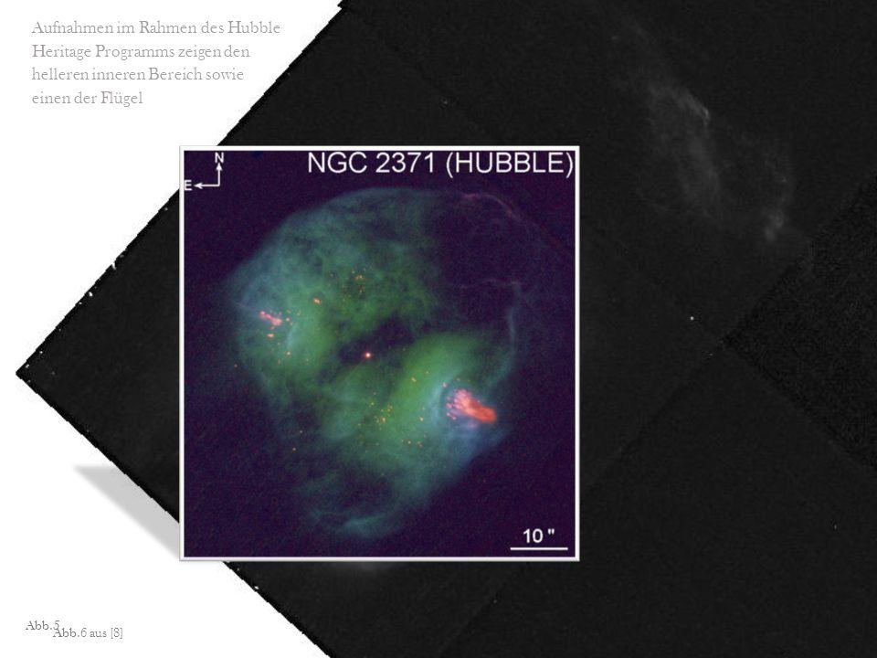 Abb.5 Aufnahmen im Rahmen des Hubble Heritage Programms zeigen den helleren inneren Bereich sowie einen der Flügel Abb.6 aus [8]