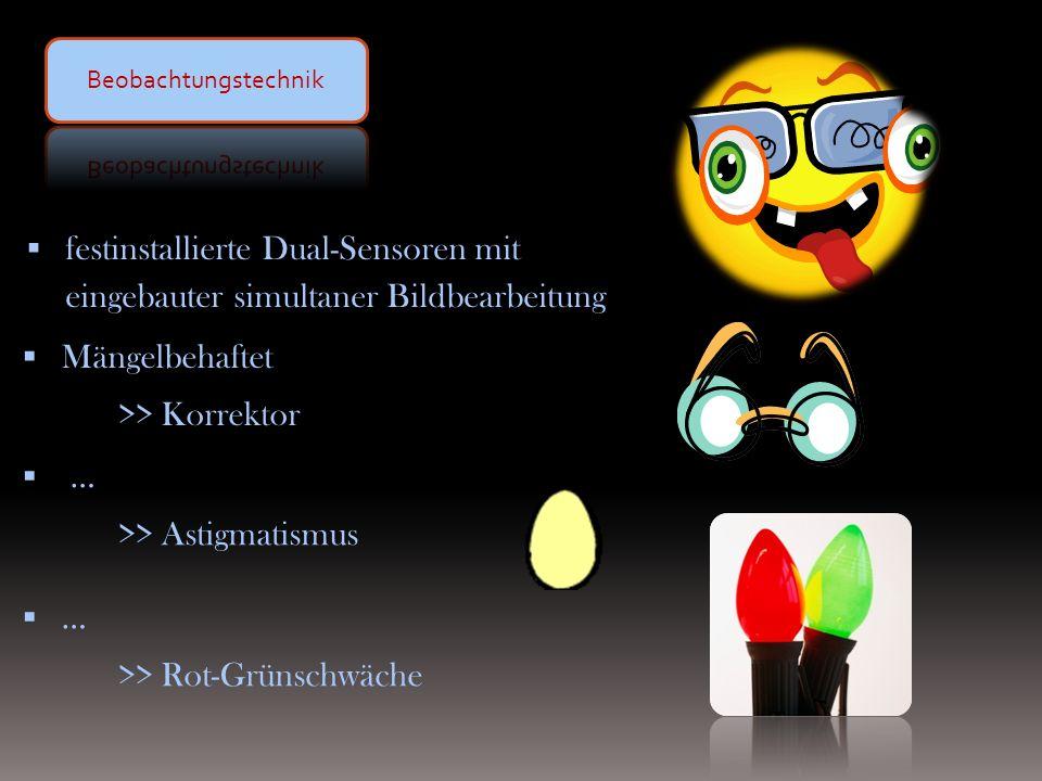 festinstallierte Dual-Sensoren mit eingebauter simultaner Bildbearbeitung … >> Astigmatismus … >> Rot-Grünschwäche Mängelbehaftet >> Korrektor