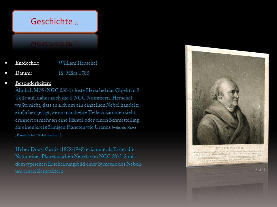 GeschichteObjektdaten Astrophysik (Morphologie/Zentralstern) Beobachtung & Zeichnung Fotografie