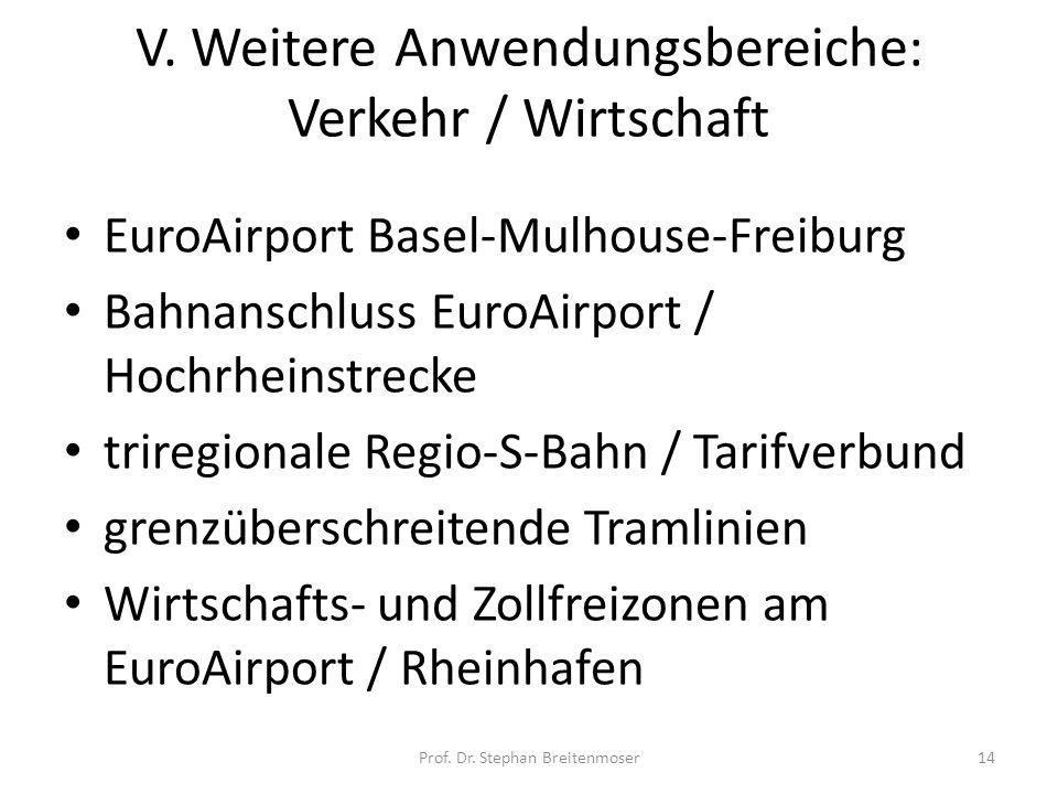 V. Weitere Anwendungsbereiche: Verkehr / Wirtschaft EuroAirport Basel-Mulhouse-Freiburg Bahnanschluss EuroAirport / Hochrheinstrecke triregionale Regi