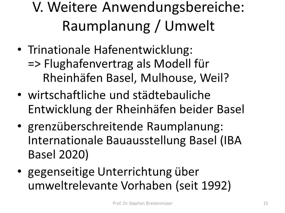 V. Weitere Anwendungsbereiche: Raumplanung / Umwelt Trinationale Hafenentwicklung: => Flughafenvertrag als Modell für Rheinhäfen Basel, Mulhouse, Weil