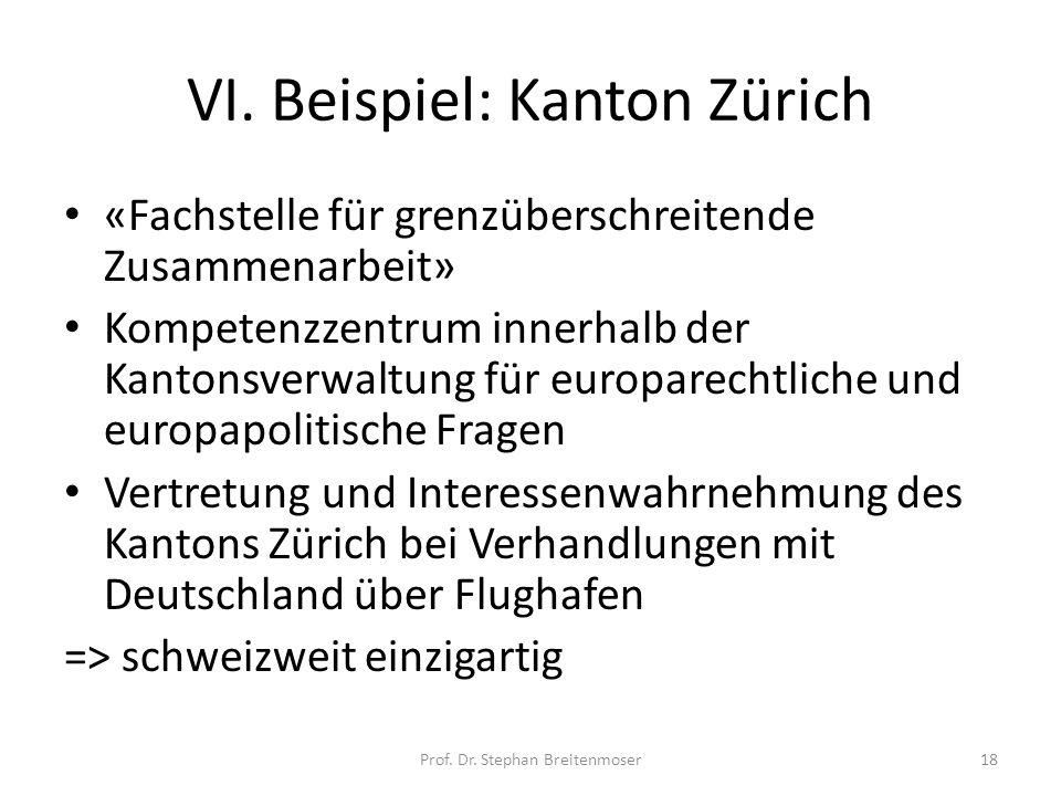 VI. Beispiel: Kanton Zürich «Fachstelle für grenzüberschreitende Zusammenarbeit» Kompetenzzentrum innerhalb der Kantonsverwaltung für europarechtliche