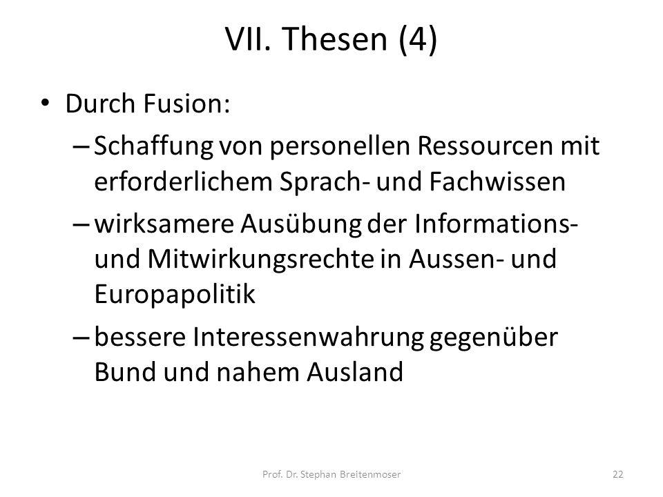 VII. Thesen (4) Durch Fusion: – Schaffung von personellen Ressourcen mit erforderlichem Sprach- und Fachwissen – wirksamere Ausübung der Informations-