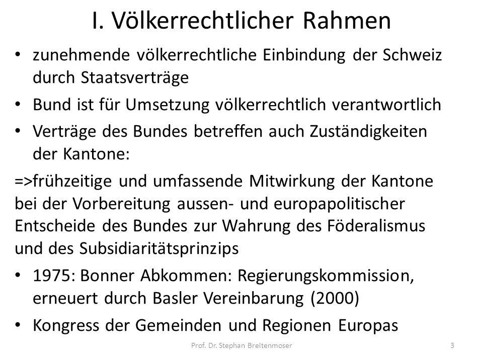 I. Völkerrechtlicher Rahmen zunehmende völkerrechtliche Einbindung der Schweiz durch Staatsverträge Bund ist für Umsetzung völkerrechtlich verantwortl