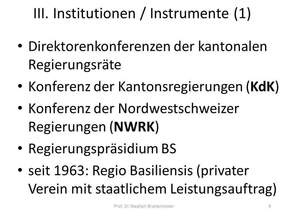 III. Institutionen / Instrumente (1) Direktorenkonferenzen der kantonalen Regierungsräte Konferenz der Kantonsregierungen (KdK) Konferenz der Nordwest