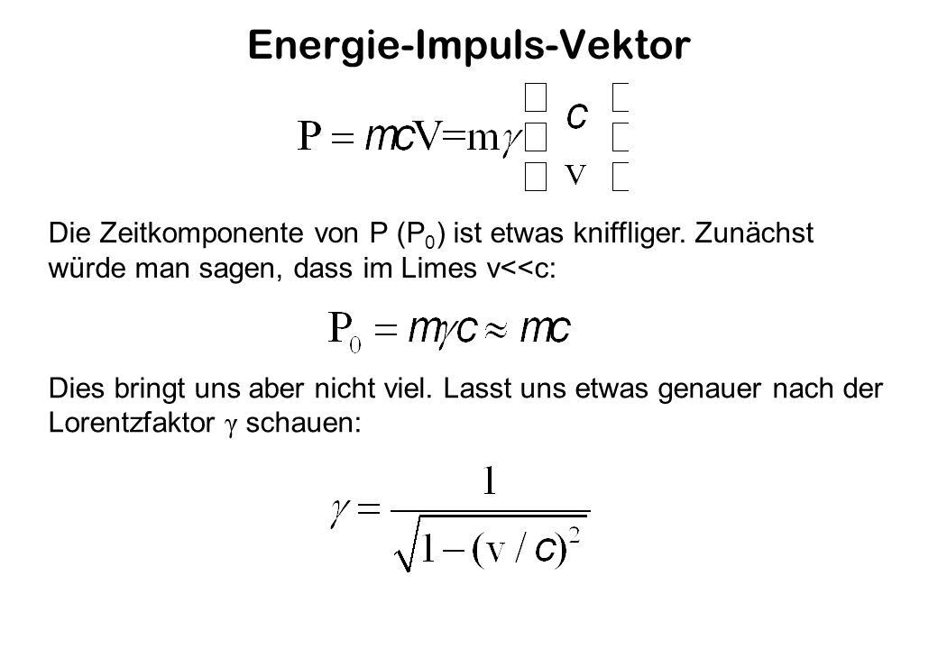 Energie-Impuls-Vektor Die Zeitkomponente von P (P 0 ) ist etwas kniffliger.