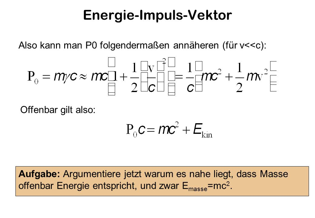 Energie-Impuls-Vektor Also kann man P0 folgendermaßen annäheren (für v<<c): Aufgabe: Argumentiere jetzt warum es nahe liegt, dass Masse offenbar Energie entspricht, und zwar E masse =mc 2.