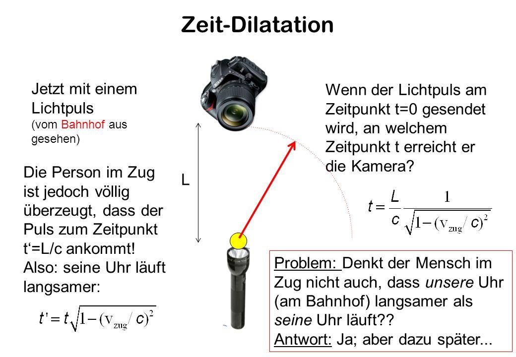 Zeit-Dilatation Jetzt mit einem Lichtpuls (vom Bahnhof aus gesehen) L Wenn der Lichtpuls am Zeitpunkt t=0 gesendet wird, an welchem Zeitpunkt t erreicht er die Kamera.