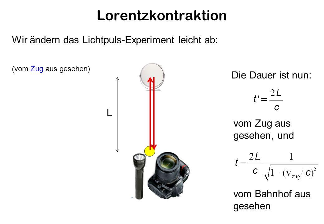 Lorentzkontraktion L Wir ändern das Lichtpuls-Experiment leicht ab: (vom Zug aus gesehen) Die Dauer ist nun: vom Zug aus gesehen, und vom Bahnhof aus gesehen
